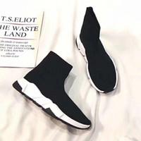 botas rojas de la pu para las mujeres al por mayor-2019 nuevas zapatillas de deporte de diseñador Speed Runner zapatos de moda calcetines botas negras triples entrenador plano rojo hombres mujeres zapatos casuales deporte con bolsa de polvo