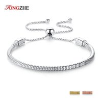 регулируемые браслеты из змеиной цепи оптовых-925 Sterling Silver Bracelets&Bangles Adjustable  DIY Jewelry Bracelet For Women Accessories Men Snake Chain