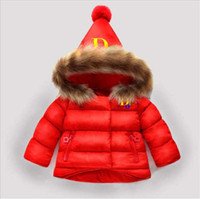 yılbaşı örtüsü toptan satış-DlOR Marka Renkli Logo Çocuk Mont Bebek Erkek Kız Kış ceket Boyutu 1-6 T Çocuk Kış Coat Çocuk Aşağı Pamuk Mont Tavşan Saç Yaka