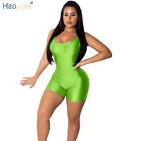 sexy schwarzer gold overall großhandel-Haoyuan Neon Sexy Overall Frauen Strampler Overalls Streetwear Kostüm Body Clubwear Einteiler Schwarz Bodycon Shorts Overall Y19071801