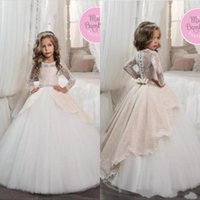 Wholesale white black flower girl for toddlers online - 2019 Vintage Long Sleeves Ivory Toddler Flower Girls Dresses for Weddings Princess A Line Jewel Neck Bow Sash First Communion Pageant Gowns