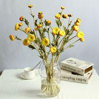 bouquet flores artificiais achat en gros de-35 cm 3 Têtes de Haute Qualité Artificielle PU Bouquet De Fleurs Simulation Thé Rose À La Maison Décoration De Mariage Flores Artificiais Décor Faux Fleurs