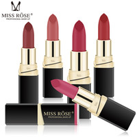 Wholesale dark purple black lipstick resale online - MISS ROSE makeup matte matte velvet lipstick non stick cup lasting not easy to discolor black tube lipstick