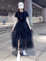 siyah tutu elbise kadınlar toptan satış-Yaz elbiseler kadın tül Slim fit kısa kollu siyah uzunluk kadınlar elbise tutu etek parti elbiseler