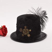 Wholesale black lace hat resale online - Men Vintage Steampunk Fedora Gear Lace Top Hat Gothic Victorian Unisex Party Black Hat D19011102