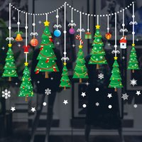 Wholesale xmas decoration window resale online - Christmas Tree Self adhesive Stickers Christmas Decorations Xmas Ornament window stickers Window Decoration Wall Stickers WX9