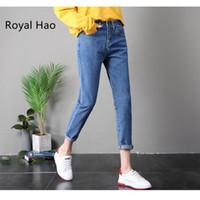 senhora escura venda por atacado-RH 2018 tornozelo comprimento Dark Blue Boyfriend Jeans Loose Women Harem cintura alta Denim Pants senhora casual Mom Jeans Mujer Plus Size
