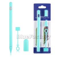 halter silikon tablette großhandel-Neue weiche Silikonhülle für Apple Bleistifte Fall für iPad Bleistift Abdeckung Inhaber Tablet Touch Pen Stylus Anti-Lost 4 in 1 einfaches Design