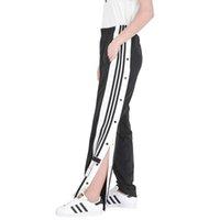 düğme bacağı toptan satış-Moda Bayan Marka Pantolon Tam Boy Yaz Kadın Tasarımcı Pantolon Düğme Lüks Bayan Geniş Bacak Pantolon Boyutu ile XS-XL