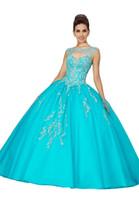 вышитое синее платье выпускного вечера оптовых-Аква синий вышитые сладкий 16 платья бальное платье 2019 Бато Cap рукавом из бисера драпированные кружева Up спинки платье выпускного вечера Quinceanera платье