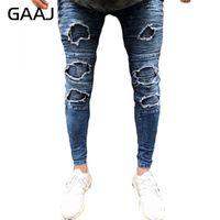 jeans escuro destruído venda por atacado-GAAJ Homens Moto Jeans Lavar Azul Escuro Skinny Calças Rasgado Destruir Motociclista Jean Elasticidade Zipper Hiphop Calças Jeans # HJB1L