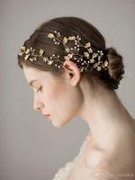 headpiece nupcial da folha venda por atacado-Chic Folha de ouro com cristais brilhantes Handmade Acessórios de cabelo para noivas headpiece nupcial Headbeads Hairwear
