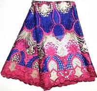 afrika kumaşları toptan satış-Sıcak satış 5 yards işlemeli taş ile afrika fransız dantel kumaş gipür gelinlik nijeryalı dantel kumaşlar için dantel kumaş ZQ-A92