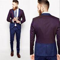 traje pitillo burdeos al por mayor-Niza azul marino y borgoña esmoquin trajes de los hombres para la boda elegante informal de la chaqueta de baile Slim Fit Skinny Blazer trajes a medida