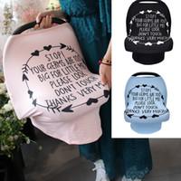 arabalar için koltuk bezi toptan satış-Bebek Arabası kelimeler baskı ile Kapak Katı renk araba koltuğu kapağı 3 Renkler Örme kumaş Alışveriş Sepeti Kapağı Bebek Taşıyıcı gölge bez