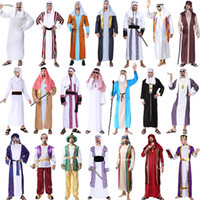 Wholesale party themes boys resale online - Party Cosplay Stage Costume Halloween Theme Cos Costume Adult King Arab Arabian Robe Clothes Aladdin Dubai Boy Girls Clothing Set