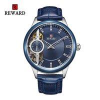 relogios de relógios de cronômetro venda por atacado-Relógio Automático dos homens de moda À Prova D 'Água de Couro Genuíno Oco Relógios Mecânicos Homens Cronômetro Vestido de Negócios relógio de Pulso Dos Homens