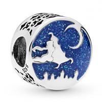 ingrosso aladdin argento-New Authentic 100% 925 Sterling Silver Bead Charm Smalto blu Aladdin Magic Carpet Ride Charm Fit Pandora Braccialetto Del Braccialetto Gioielli Fai Da Te