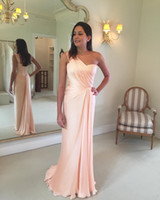 Wholesale custom made wedding dress silver resale online - 2020 Newest Blush Pink Mermaid Mother Of The Bride Dresses Chiffon One Shoulder Sleeveless Backless With Zipper Wedding Guest Evening Gowns