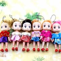 mini-puppe telefon großhandel-Kawaii mini mode puppe spielzeug korea plüsch puppe spielzeug mit kleid niedlich schlüsselbund telefon anhänger mädchen geburtstagsgeschenk