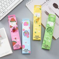 Wholesale kids fruit erasers for sale - Group buy 12pcs set Cute Fruit Watermelon Plastic Pencil Automatic Pen With Eraser For Kid School Office Supply