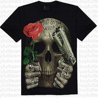 ingrosso immagini per la moda camicia-Rock-Stile Pistola e Rose 7A8 degli uomini di t-shirt stampate maniche corte nera Mens Top Moda girocollo T-shirt Taglia S M L XL 2XL 3XL