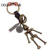 ingrosso anello chiave del robot-Oculosoak New Fashion Alloy 3d Portachiavi Portachiavi Ciondolo in pelle Portachiavi Portachiavi in pelle per uomo donna