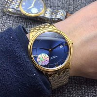 Wholesale stainles steel for sale - New Gold VILLE Blue Dial Gold Bezel Dial Swiss Automatic Mechanical Mens Sport Watch Stainles Steel Strap