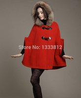 plus größe batwing poncho mantel großhandel-2019 Herbst Winter Korean Female Woolen Poncho Coat Echtpelzkragen Wolle Plus Size Loose Overcoat