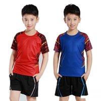 mayo harf toptan satış-Çocuklar Badminton Suit Kız Yuvarlak Yaka Kısa Kollu Masa Tenisi Jersey Hareket Giyim Lettering Serve