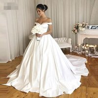 Wholesale pretty princess dresses red for sale - Group buy Vintage Wedding Dresses With Pockets Off The Shoulder Royal Simple Bridal Gowns V neck Back Button Pretty Wdding Gowns
