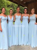 himmel garten lichter großhandel-2019 Licht Sky Blue Brautjungfernkleider bodenlangen Chiffon böhmischen Garten Land Strand Hochzeitsgast Kleider Brautjungfer Kleid