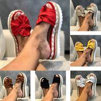Wholesale brown wedge flip flops resale online - Women Wedge Sandals Shoes Summer Slipper Indoor Outdoor Flip flops Beach Female Bow Hemp Rope Slippers Plus Size Shoes