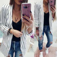 Wholesale stylish blazers fashion resale online - 2018 Female New Fashion Stand Striped Coats Women Ladies Long Sleeve Striped Stylish Duster Jacket Coat high quality W510