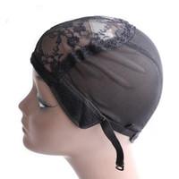 ayarlanabilir peruklar toptan satış-Peruk 10pcs / lot için Ayarlanabilir Askı Ve Saç Dokuma Stretch Ayarlanabilir Tutkalsız Peruk Cap Siyah Dome Cap ile Peruk Yapımı için Peruk Cap