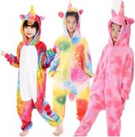 çocuklar onesie toptan satış-27 TASARıM Kigurumi Pijama Çocuklar Için Unicorn Anime Panda Onesie Çocuk Kostüm Pijama Tulum Cosplay Kostüm Pijama KKA6348