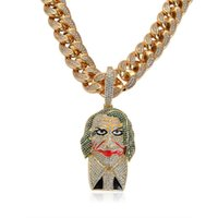 Wholesale clowns necklaces for sale - Group buy 18K Gold Clown Joker Pendant Necklace Iced Out Micro Paved Cubic Zircon Men Bling Hip Hop Jewelry