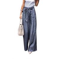 ingrosso pantaloni di grandi dimensioni-Pantaloni da donna facili per il tempo libero Pantaloni larghi con cintura Culottes larghi palazzo dritto Plus Size LJJA2625