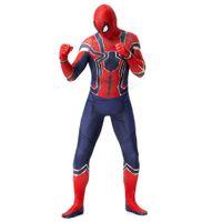 anime super sexy großhandel-Plus Größe Super Hero Bodys Halloween Cosplay Zentai Sexy Karneval COS Eisenspinne Outfits Peter Parker Amerikanischen Anime Film Kostüm