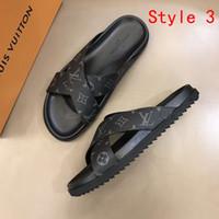 patrones flip flop al por mayor-Diseñador de moda de lujo 2019 hombres de la marca zapatos de cuero real patrón de impresión verano moda Casual sandalias de los planos Chanclas de playa