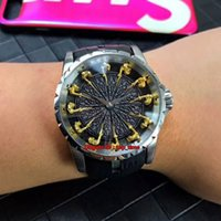 ingrosso orologio da tavolo rotondo-10 orologi di alta qualità in stile Excalibur 45 I cavalieri della tavola rotonda Mens Automatic Watch RDDBEX0495 Cinturini in pelle nera da uomo