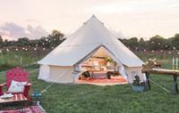 wasserdichte zelt leinwand großhandel-Four Season Zelt Wasserdichtes Überleben Big Cotton Canvas Rundzeit Teepee 6M Family Camping carpas Camping resistente al agua
