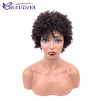 Wholesale virgin wig afro curly resale online - Natural color afro kinky Curly human hair Wigs Remy Brazilian Virgin Hair Short Human Hair Wigs For Women Beau Diva