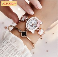 Wholesale hello kitty cat cartoon for sale - Group buy Hello kitty pink watch Drill Chain Girl kt cat cartoon best lovely gift for lady fashion Bracelet dress quartz watch diamond