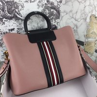 Wholesale blue stripped bags resale online - New Fashion Luxury Designer Woman Handbag Cross body Bags Shoulder Genuine Leather High Quality Tote bags Cowhide with color strips bags