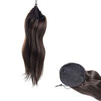 24 zoll pferdeschwanz großhandel-Indian 14 bis 30 Zoll 100g 120g natürliche schwarze Gerade Webart Körper-Wellen-Schnür Pferdeschwanz Jungfrau Remy Haar-Verlängerung