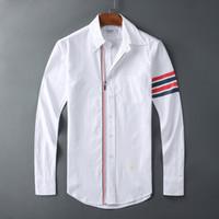 paçavra gömleği toptan satış-TB Gömlek erkek Pamuk Fermuar Placket Uzun Kollu Çizgili Gömlek erkek Ince Moda Kaliteli Iş Rahat Gömlek Asya Boyutu S-XL