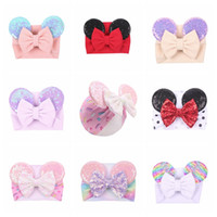 Wholesale baby cute designs resale online - Big bow wide haidband cute baby girls hair accessories sequined mouse ear girl headband colors new design holidays makeup costume band