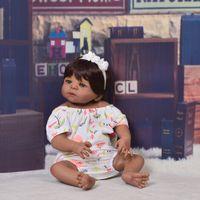 реалистичная кожа для игрушек оптовых-Коллекционные 23-дюймовые Reborn Baby Doll Всего Силикона 57 см Реалистичные Черная Кожа Baby Doll Girl Kid Подарок На День Рождения Поддельные Детские Игрушки
