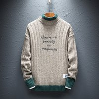 koreanische kleidung männer neuen stil großhandel-Männer Strickpullis Neue Gestickte Wort Korean Style Fashion Half Turtleneck Jumper Sweater Männer Mann Herbst Winter Warme Kleidung